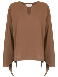 Lilly Sarti Tie Detail Blouse Brown