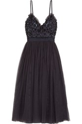 Needle And Thread Open Back Embellished Crepe Tulle Midi Dress Midnight Blue