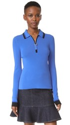 Grey Jason Wu Long Sleeve Polo Sweater Cobalt Black