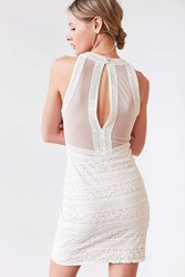 Kimchi And Blue Lacey High Neck Bodycon Dress Ivory
