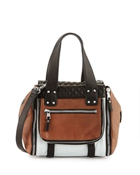 Ash Mick Colorblock Zip Satchel Bag Brown Black