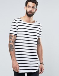 Asos Super Longline Stripe T Shirt With Curved Hem And Boat Neck White Black