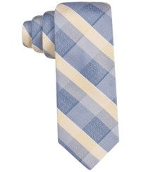 Ryan Seacrest Distinction Men's Lakeview Plaid Slim Tie Only At Macy's Silver Yellow