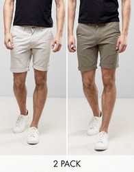 D Struct Turn Up Chino Shorts 2 Pack Green