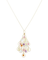 Nanis Mixed Stone Pink Tourmaline Amor Large Chandelier Necklace