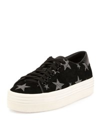 Saint Laurent Court Classic Star Print Sneaker Black Platinum Noir Platine