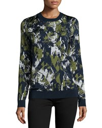 Jason Wu Long Sleeve Printed Pullover Navy Basil Chalk Women's Size S