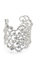 Kate Spade Crystal Lace Cuff Bracelet Clear Silver