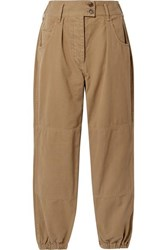 Nili Lotan Military Cropped Cotton Twill Tapered Pants Sand