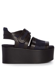 Marni Leather And Canvas Platform Sandals Navy