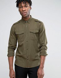 Bellfield Military Shirt With Chest Pockets Khaki Green