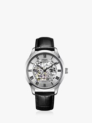 Rotary 'S Greenwich Skeleton Leather Strap Watch Black Silver Gs02940 06