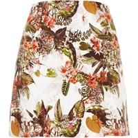 River Island Cream Floral Print Mini Skirt