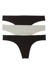 Madewell 3 Pack Thong Black Grey
