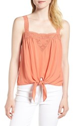 Hinge Lace Trim Tie Front Camisole Coral Orange