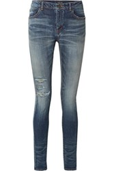 Saint Laurent Distressed High Rise Skinny Jeans Blue