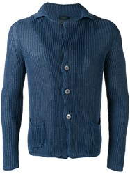 Zanone Ribbed Detail Cardigan Men Linen Flax 48 Blue