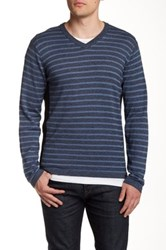 Dkny Striped V Neck Sweater Blue