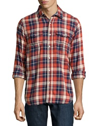 Howe Plaid Front Snap Shirt Red
