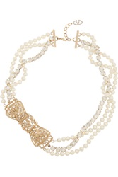 Valentino Gold Tone Faux Pearl And Crystal Bow Necklace Metallic