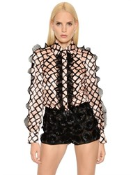 Emanuel Ungaro Lattice Print Ruffled Silk Satin Shirt