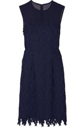 Mikael Aghal Tulle Trimmed Guipure Lace Dress Navy