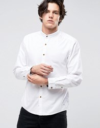 Esprit Grandad Shirt In Slim Fit With Contrast Turnup Sleeves 100 White
