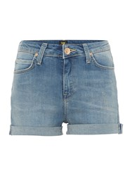 Lee Short High Rise Jeans In Light Urban Indigo Denim Light Wash