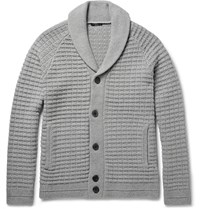 Theory Balfor Shawl Collar Waffle Knit Merino Wool Cardigan Gray