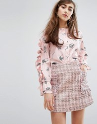 Sister Jane Ruffle Shirt In Print Pink