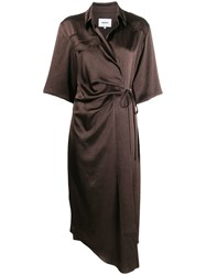 Nanushka Lais Wrap Dress Brown