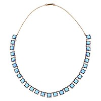 Alice Joseph Vintage 1920S Gold Toned Square Cut Glass Crystal Necklace Crystal Blue