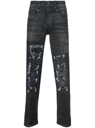 R 13 R13 Distressed Skinny Jeans Cotton Polyester Spandex Elastane Black