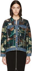 Ashish Green And Blue Sequined Camo Jacket