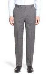 Men's Z Zegna Flat Front Solid Wool Trousers Dark Grey