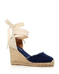 Soludos Denim Ankle Tie Wedge Sandals Dark Denim