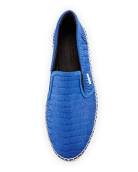 Jimmy Choo Vlad Men's Crocodile Print Espadrille Slip On Sneaker Blue