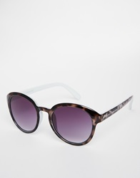 French Connection Round Sunglasses Black