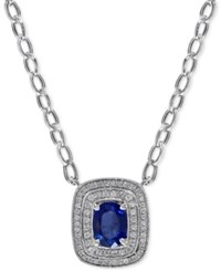 Effy Collection Sapphire 1 2 5 Ct. T.W. And Diamond 2 3 Ct. T.W. Pendant Necklace In 14K White Gold