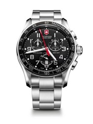 Victorinox Chrono Classic Xls Stainless Steel Chronograph Bracelet Watch Silver Black