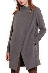 Lauren Ralph Lauren Women's Cutaway Wool Blend Coat Grey