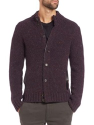 Saks Fifth Avenue Trapper Cardigan Sweater Dark Red