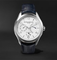 Baume And Mercier Clifton Automatic 43Mm Stainless Steel Alligator Watch White