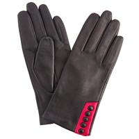 John Lewis 5 Button Leather Gloves Black Pink