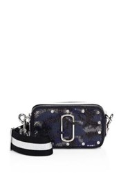 Marc Jacobs Sequined Snapshot Shoulder Bag Blue Multi Army Green