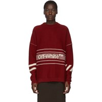 Off White Ssense Exclusive Red Wool Logo Sweater