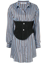 Ground Zero Corset Detail Striped Shirt Blue
