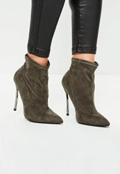 Missguided Khaki Curved Metal Heel Ankle Boots Taupe
