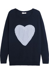 Chinti And Parker Appliqued Merino Wool Sweater Midnight Blue