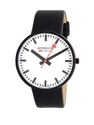 Mondaine Stainless Steel And Leather Strap Watch Black